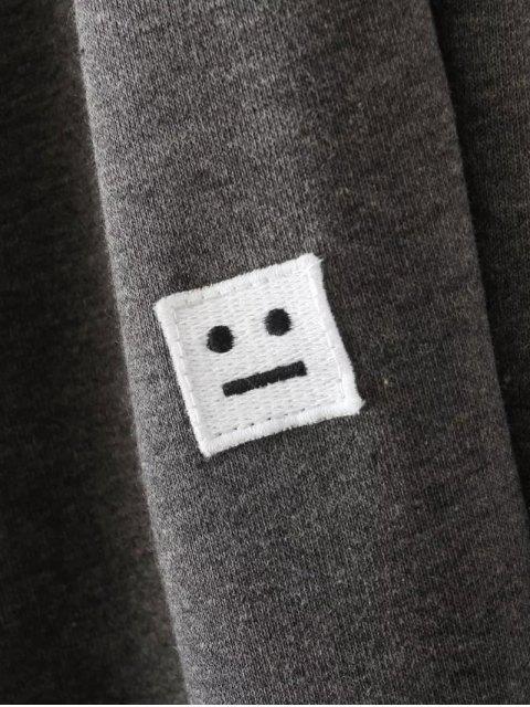 Emoticon Patched Jogging Pants - Gris 2XL Mobile