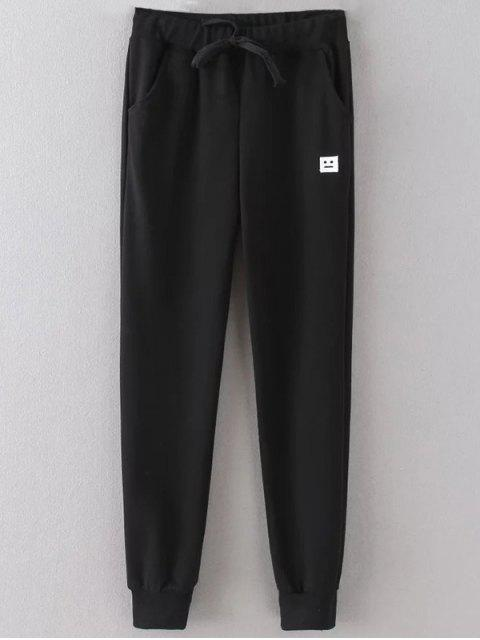 Emoticon Patched Jogging Pants - Noir 2XL Mobile