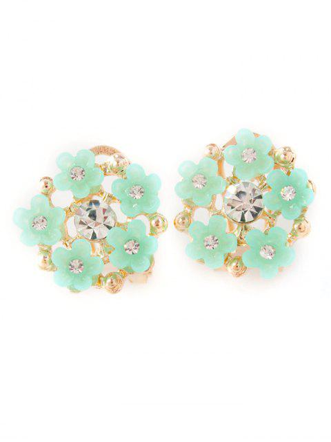 best Rhinestone Flower Adorn Earrings - GREEN  Mobile
