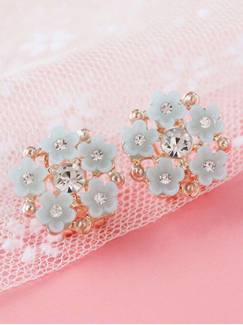Boucles d'oreilles en strass ornéés en forme de fleurs - Gris  Mobile