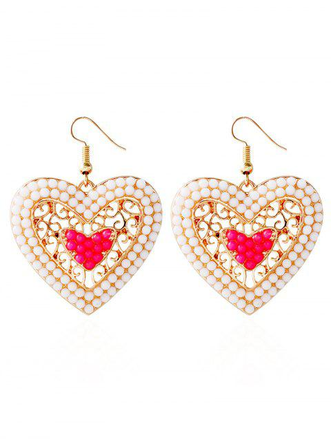 Bohemian Love Heart Perlen-Ohrringe - Rosa  Mobile