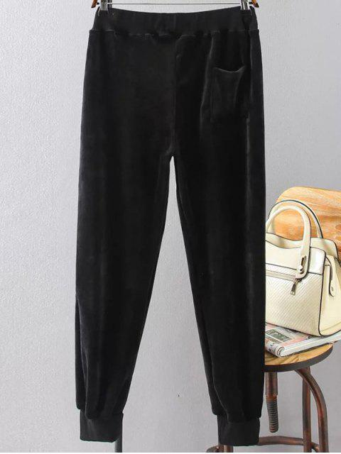hot Plus Size Velvet Jogging Pants - BLACK 2XL Mobile