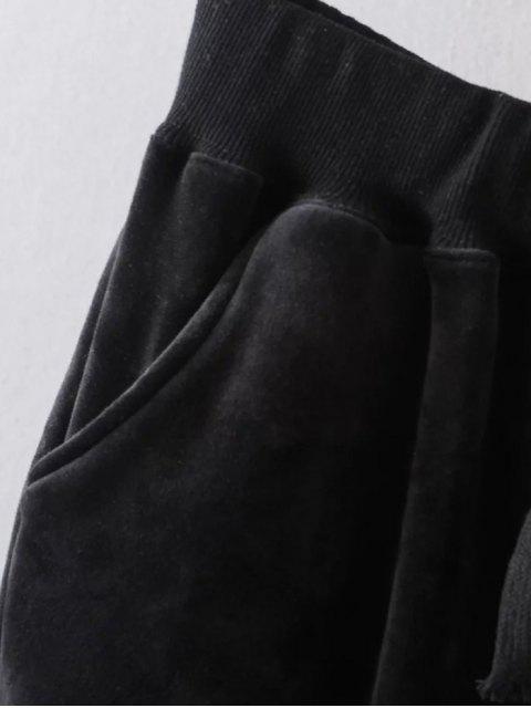 outfits Plus Size Velvet Jogging Pants - GRAY 3XL Mobile