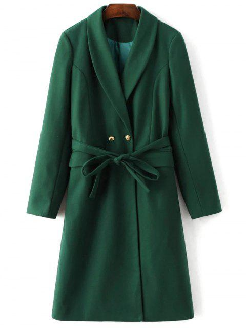 shops Wool Blend Shawl Coat - GREEN M Mobile