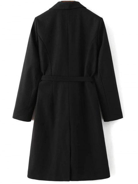 fancy Wool Blend Shawl Coat - BLACK S Mobile