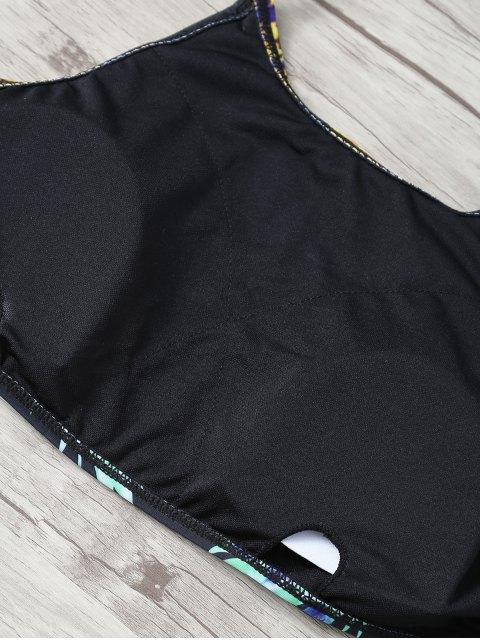 womens Halter Pineapple Print String Bikini - BLACK S Mobile