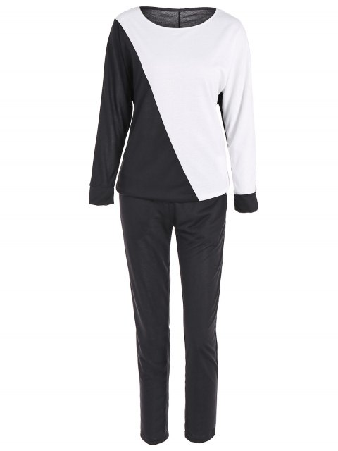 Sport pantalones del bloque del color la camiseta + - Negro S Mobile