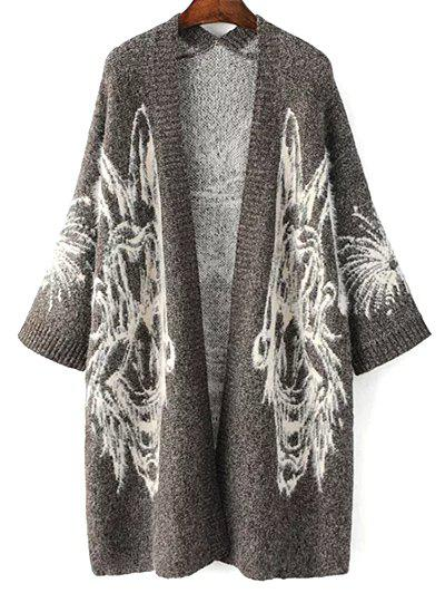 Jacquard Knit Oversized Cardigan - Gray