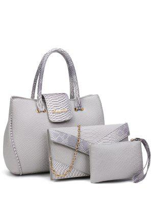 Color Spliced Embossed Metal Tote Bag
