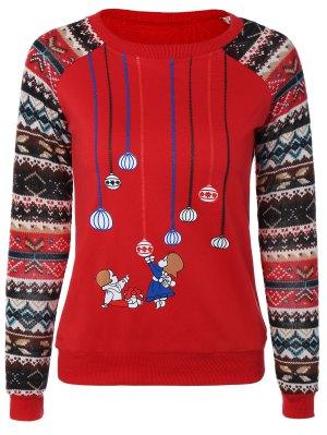Print Spliced Sweatshirt - Red M