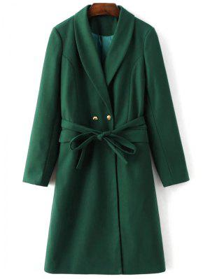 Wool Blend Shawl Coat - Green M