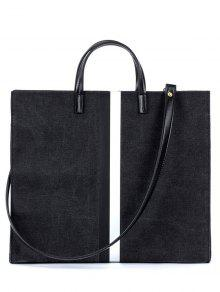 Striped Pattern Canvas Spliced Block Tote Bag - Black
