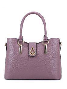 Buy Twist-Lock Metal Textured Leather Tote Bag - PALE PINKISH GREY