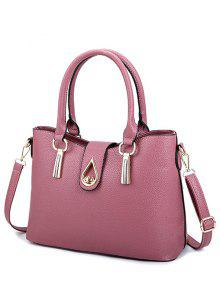 Buy Twist-Lock Metal Textured Leather Tote Bag - LEATHER RED