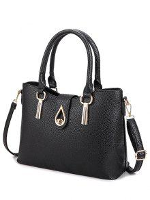 Buy Twist-Lock Metal Textured Leather Tote Bag - BLACK