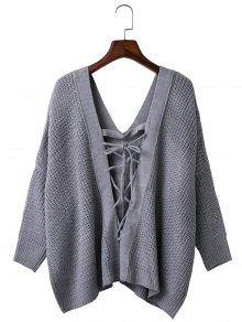 Lâche Plunge Retour Lace Up Neck Sweater - Gris