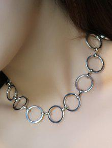 Buy Alloy Hollow Circle Choker Necklace - SILVER