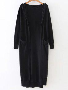Buy Hooded Duster Cardigan - BLACK ONE SIZE