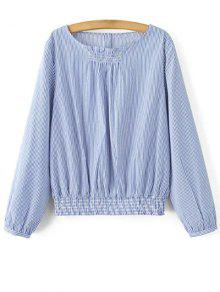 Striped Smocks Taille Blouson Top - Bleu S