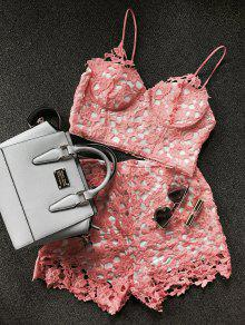 Lace Bralette Top And Shorts - Orangepink M