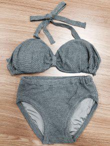 Halterneck Bow Knit Bikini - Gray S