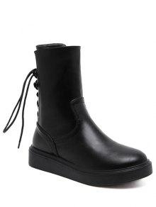 Buy Zip Platform Short Tie Boots 38 BLACK
