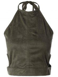 Buy Smocked Faux Suede Tank Top - GREY OLIVE S