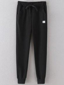 Emoticon Patched Jogging Pants - Black 2xl