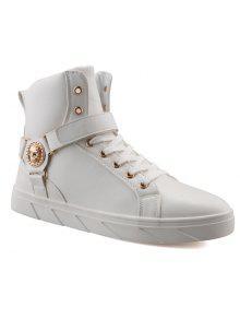 المعادن الجمجمة نمط التعادل حتى الأحذية - أبيض 41