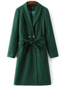 Wool Blend Shawl Coat - Green M
