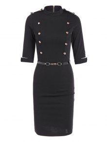 فستان ضيق مربوط - أسود L