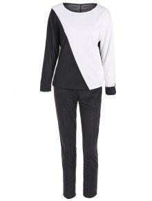 Sport Pantalones Del Bloque Del Color La Camiseta + - Negro S