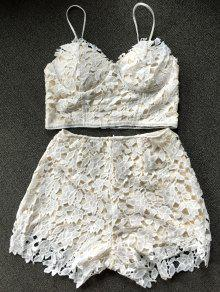 695d4464b828f6 32% OFF  2019 Lace Bralette Top And Shorts In WHITE