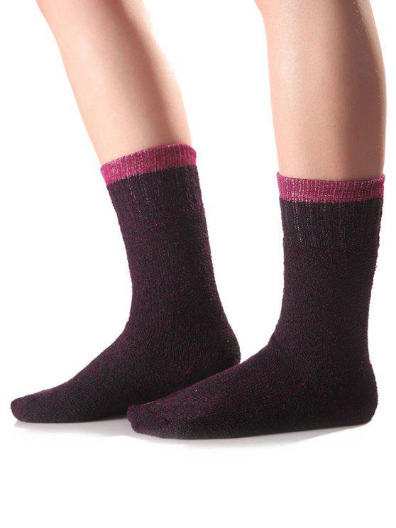 Chaussettes en tricot bord de bonbon - Pourpre
