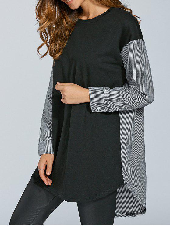 Stripe impiombato Oversize Longline T-shirt - Nero 2XL