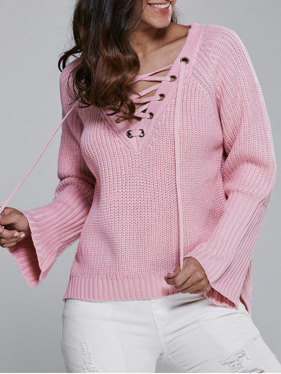women's High Low V Neck Lace Up Sweater - PINK ONE SIZE