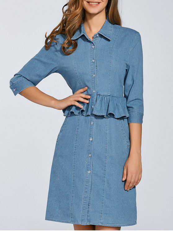 hot Denim Shirt Dress With Ruffles - DENIM BLUE 2XL