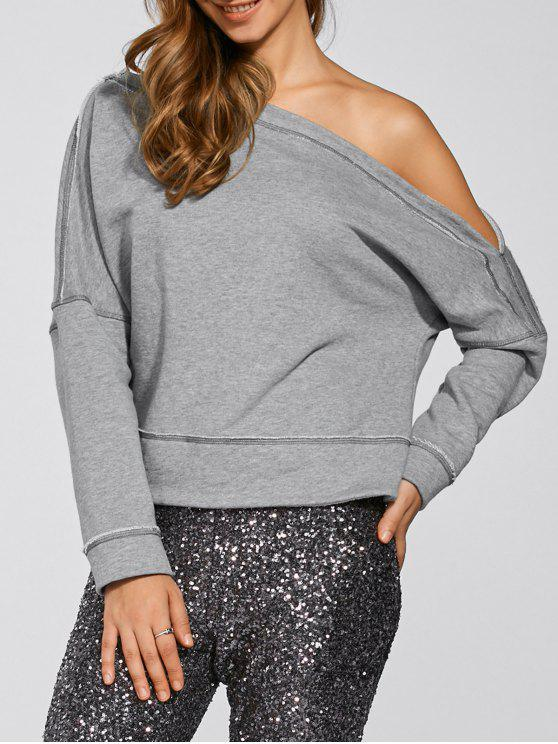 hot One-Shoulder Loose Sweatshirt - GRAY S