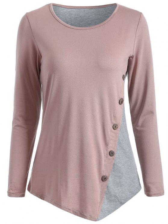 T-Shirt mit Knopf und Farbblock - Nude Pink  M