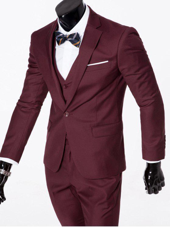 Revers Einreiher dreiteiligen Anzug - Dunkelrot 2XL