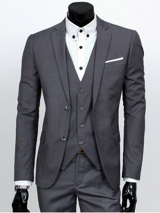 Revers Einreiher dreiteiligen Anzug - Dunkelgrau L