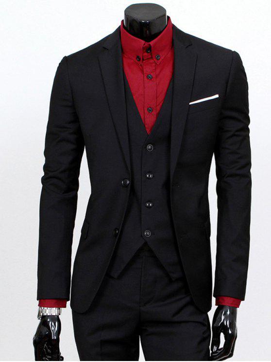 Revers Einreiher dreiteiligen Anzug - Schwarz 4XL