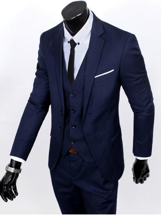 Revers Einreiher dreiteiligen Anzug - Cadetblue 2XL
