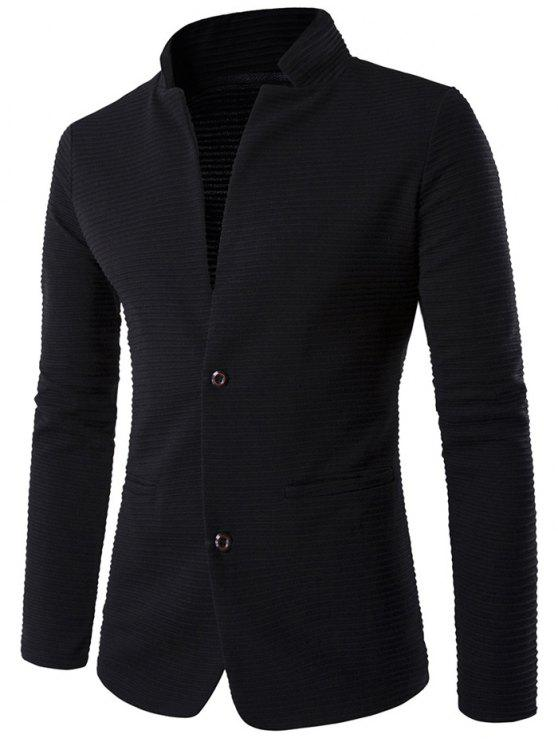 best Patch Elbow Textured Men Blazer - BLACK M
