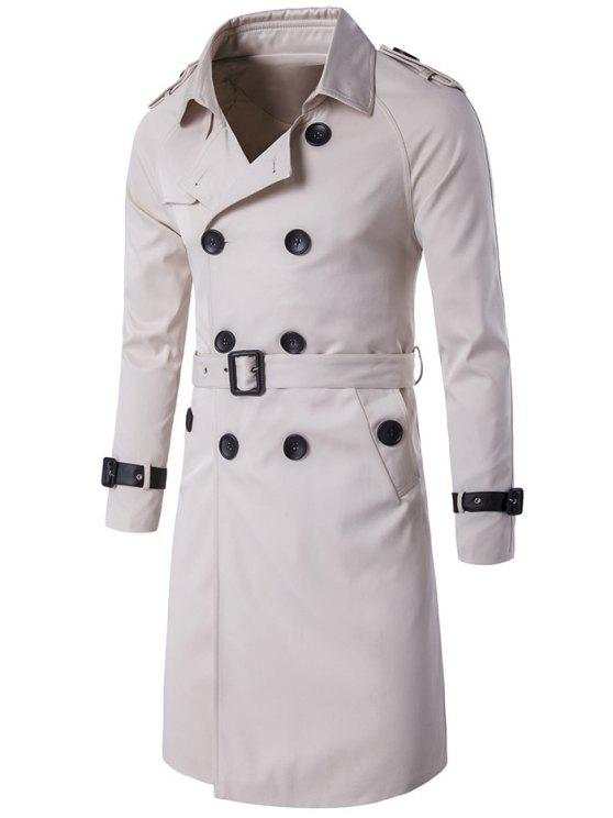 Epaulet Diseño Doble Breasted Long Trench Coat - Blancuzco 2XL