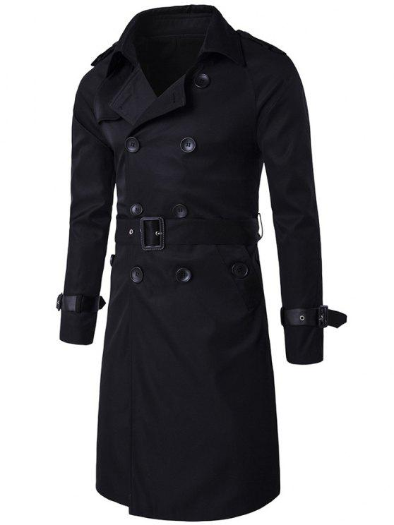 Epaulet Design Doppio Petto Trench Long Coat - Nero M
