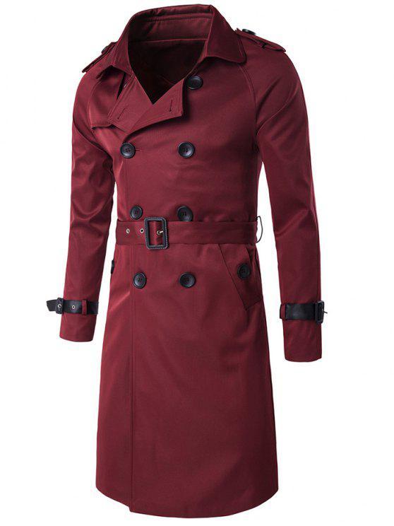 Cintura in PU-Cappellino Epaulet impreziosito con cappuccio lungo trench lungo - Vino rosso M