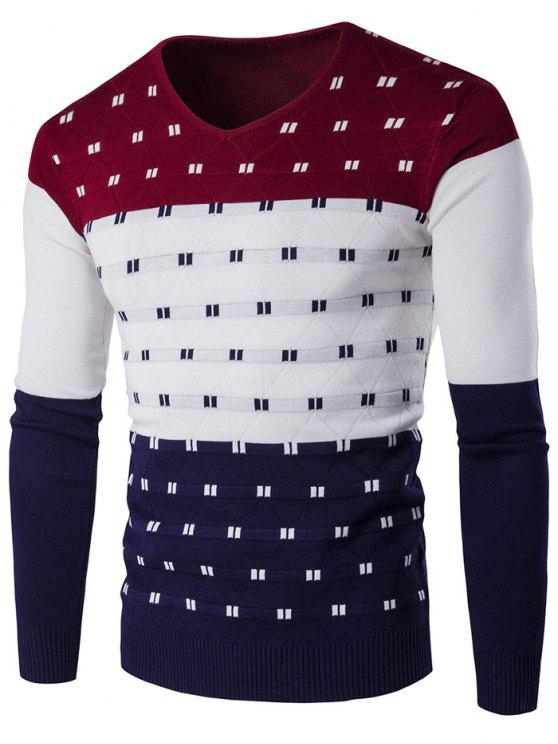 fashion V-Neck Geometric Pattern Color Block Sweater - WINE RED M