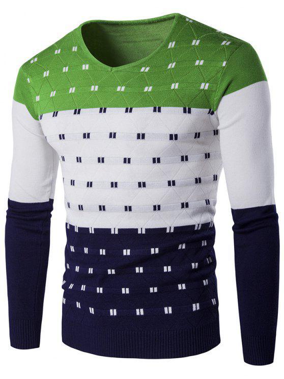 Suéter con Cuello en V Modelo Geométrico de Bloque de Color - Verde XL