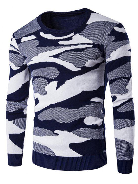 Girocollo Camouflage Pattern Maglia a maniche lunghe - Blu XL